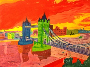London Bridge, acrylics on canvas