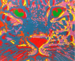 Red Spirit Leopard, acrylics on canvas