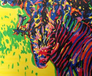 Zebra, acrylics on canvas