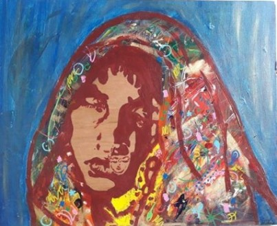 Blue Indian, 2013, acrylics and golden wax on wood, 41,5 x 34 cm