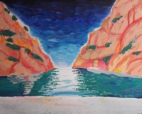 Calanque d'En-Vau, acrylics on canvas