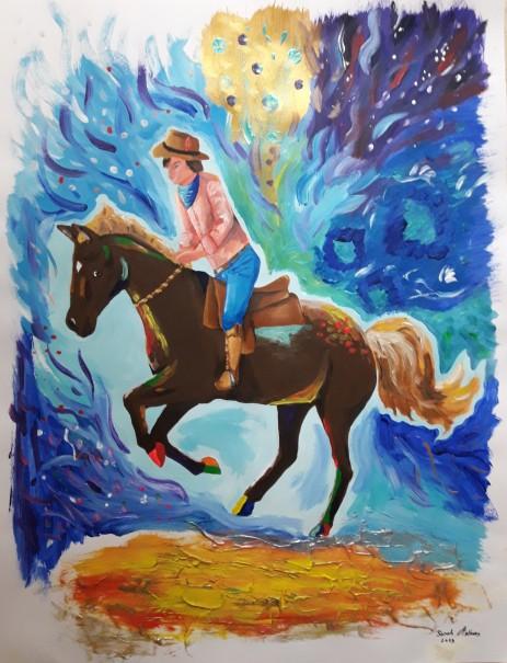 Freedom Spirit, 2019, acrylics on paper, 25 x 20 cm, circa 65 x 50 inches
