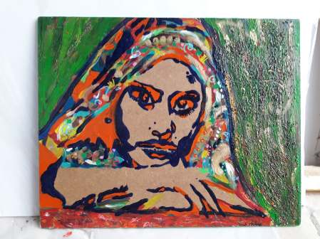 Green and orange Indian woman, 2013, acrylics and golden wax on wood, 37,5 x 30,5 cm