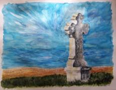 La Croix du Luberon, mixed media on paper