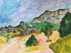 La Provence qui ondule dans le vent chaud, mixed media on paper