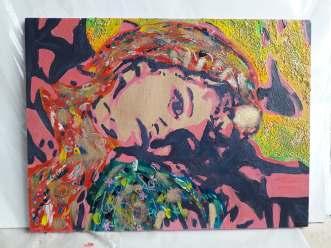 Little Indian girl, 2013, acrylics and golden wax on wood, 40 x 30 cm