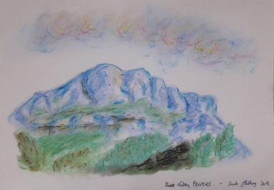Sainte-Victoire onirique, chalks on paper