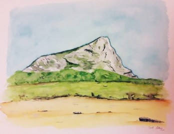 Sainte-Victoire de profil, watercolor on paper