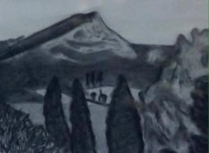 Sainte-Victoire, charcoal on paper
