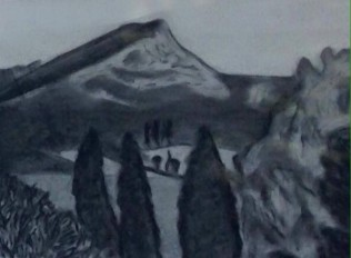 Sainte-Victoire, charcoal on paper