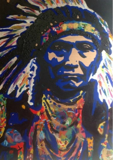 Chief Joseph, acrylics on wood
