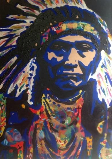 Chief Joseph, acrylics on wood
