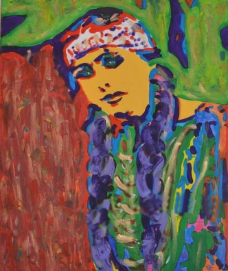 Young Native American woman, acrylics on canvas