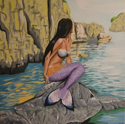 Mediterranean sea mermaid, acrylics on canvas