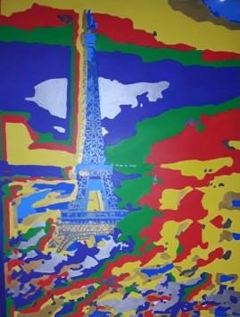 Tour Eiffel dans les nuages, 2014, acrylics on canvas, 116 x 89 cm