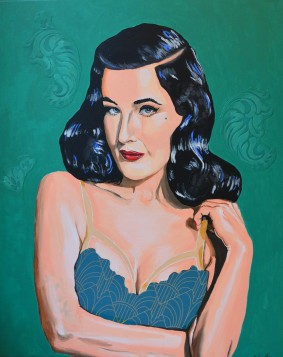 Dita von Teese portrait painting fanart fan art burlesque glamour striptease Sarah Anthony