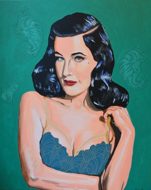 Dita von Teese - The Green Fairy, 2019, acrylics and collage on canvas