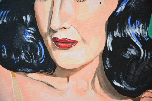 Dita von Teese – The Green Fairy, 2019, acrylics and collage on canvas