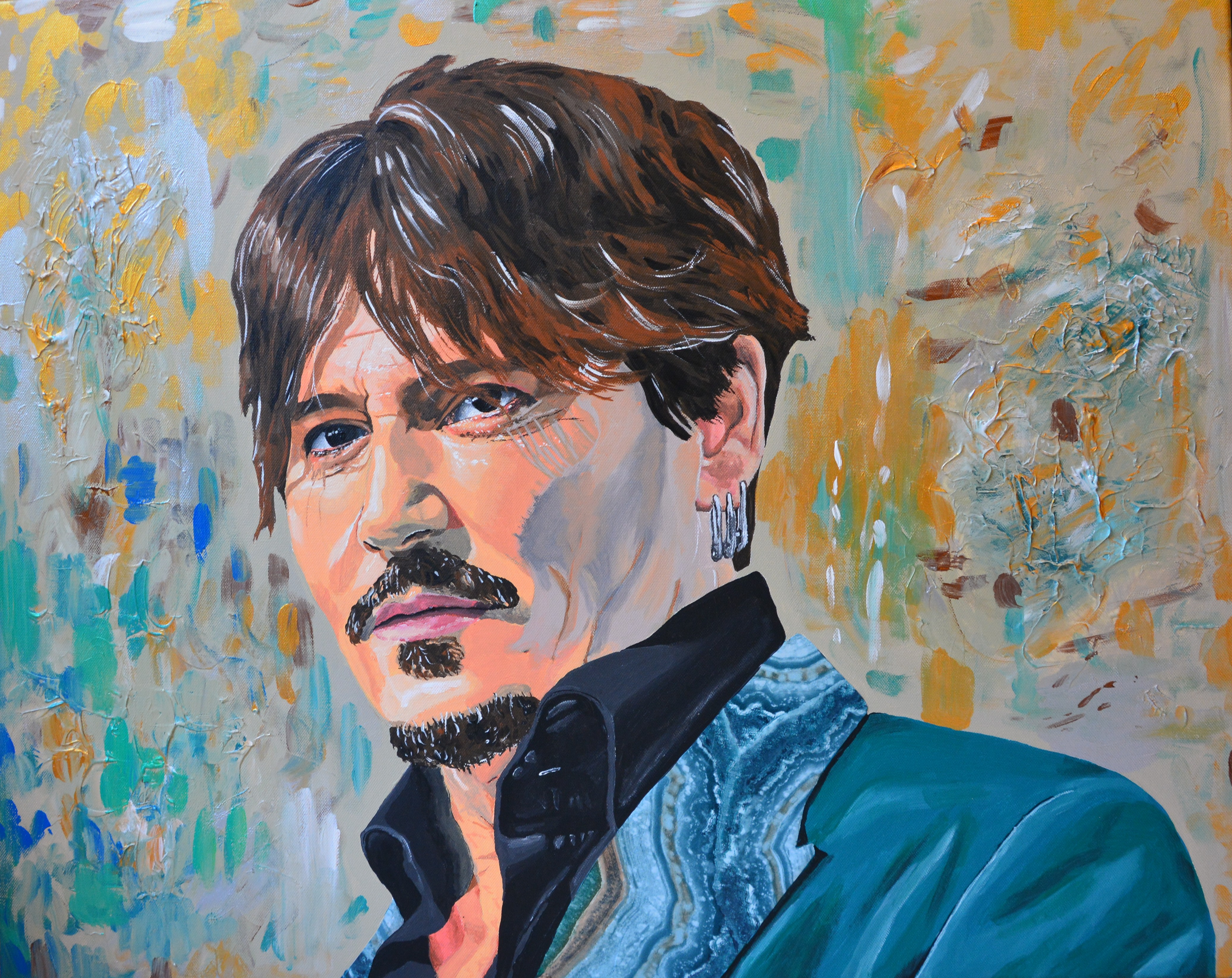 Johnny Depp, the artist, 2019, acrylics and collage on canvas