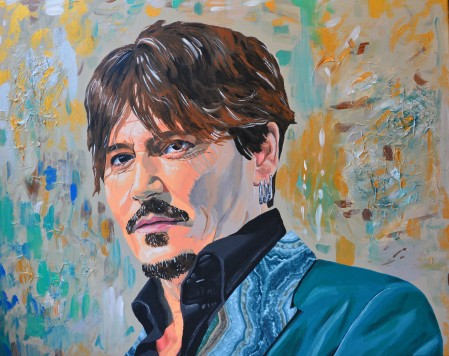 Johnny Depp portrait painting fanart fan art actor cinema Sarah Anthony