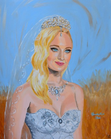 Sophie Turner portrait painting fanart fan art actress game of thrones dark phenix Sarah Anthony