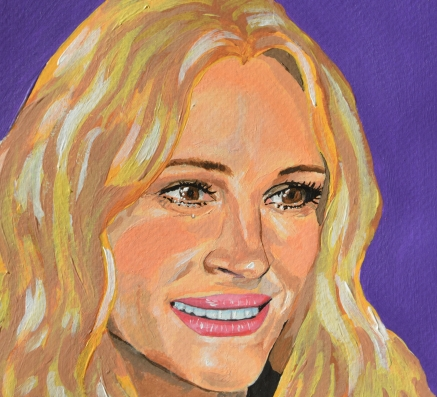 Julia Roberts, the smile, 2019, acrylics and collage on paper (detail)