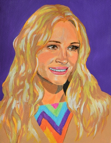 Julia Roberts, the smile, 2019, acrylics and collage on paper