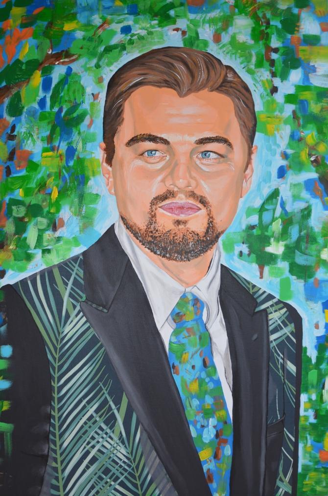 portrait fanart fan art Leonardo DiCaprio painting Sarah Anthony actor cinema environment earth activist environmentalist