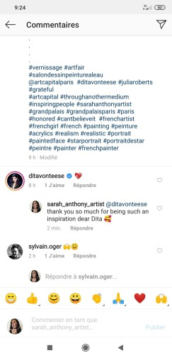 Dita von Teese appreciates the painting