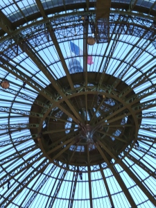 Glass drome and French flag at the Grand Palais, Paris