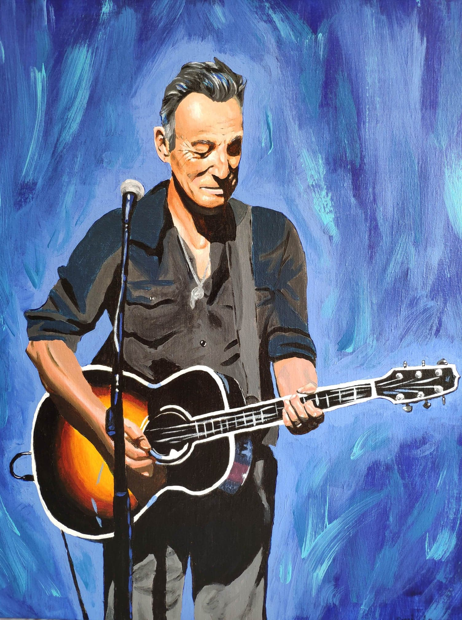 Bruce Springsteen, The Boss, Sarah Anthony, 2020, acrylics on canvas, 25,6 x 19,6 inches (65 x 50 cm)