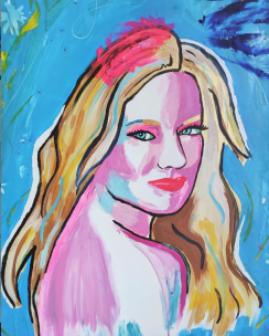 Diane, acrylic and mixed media on paper